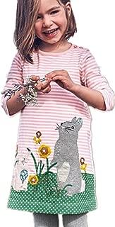 HILEELANG Girls Cotton Dress Unicorn Stripe Long Sleeve Casual Shirt for Legging 2-7 Year