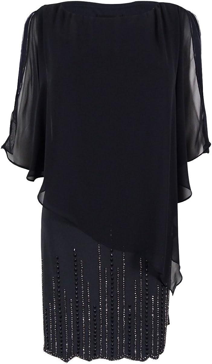 XSCAPE Women's Chiffon-overlay Embellished Shift Dress