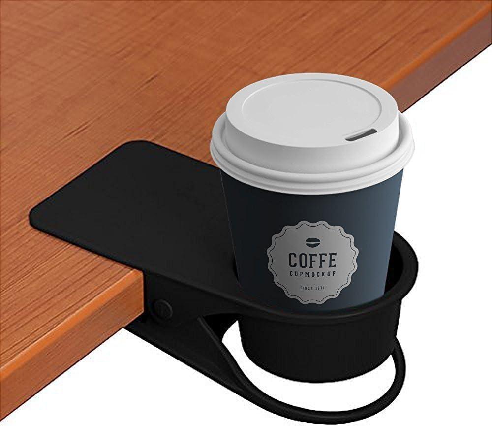 refrescos negro taza de caf/é coche MayGreeny Soporte de vaso con clip para casa bebidas silla portavasos para agua mesa mesa borde mesa oficina
