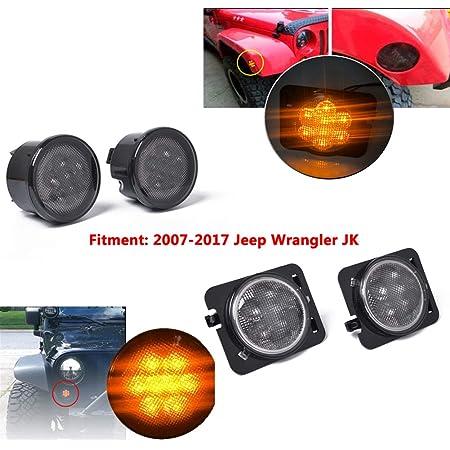 Elegantstunning 4 StÜcke Bernstein Front Led Blinker Licht Seitenlicht Combo Objektiv Für 2007 2017 Jeep Wrangler Jk Lampe Auto