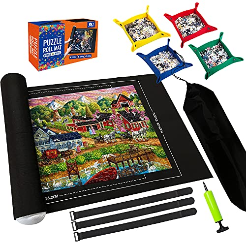 """Puzzle Mat Roll Up,Store and Transport Puzzles to 1500 Pieces,with 4 Folding Jigsaw Sorting Tray, Hand Pump, Inflatable Tube, 45.7""""x 26""""(Black)"""