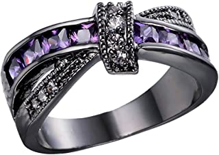 Womens Black Gold White and Purple Amethyst Cubic Zirconia Criss Cross Rings Round Princess Cut