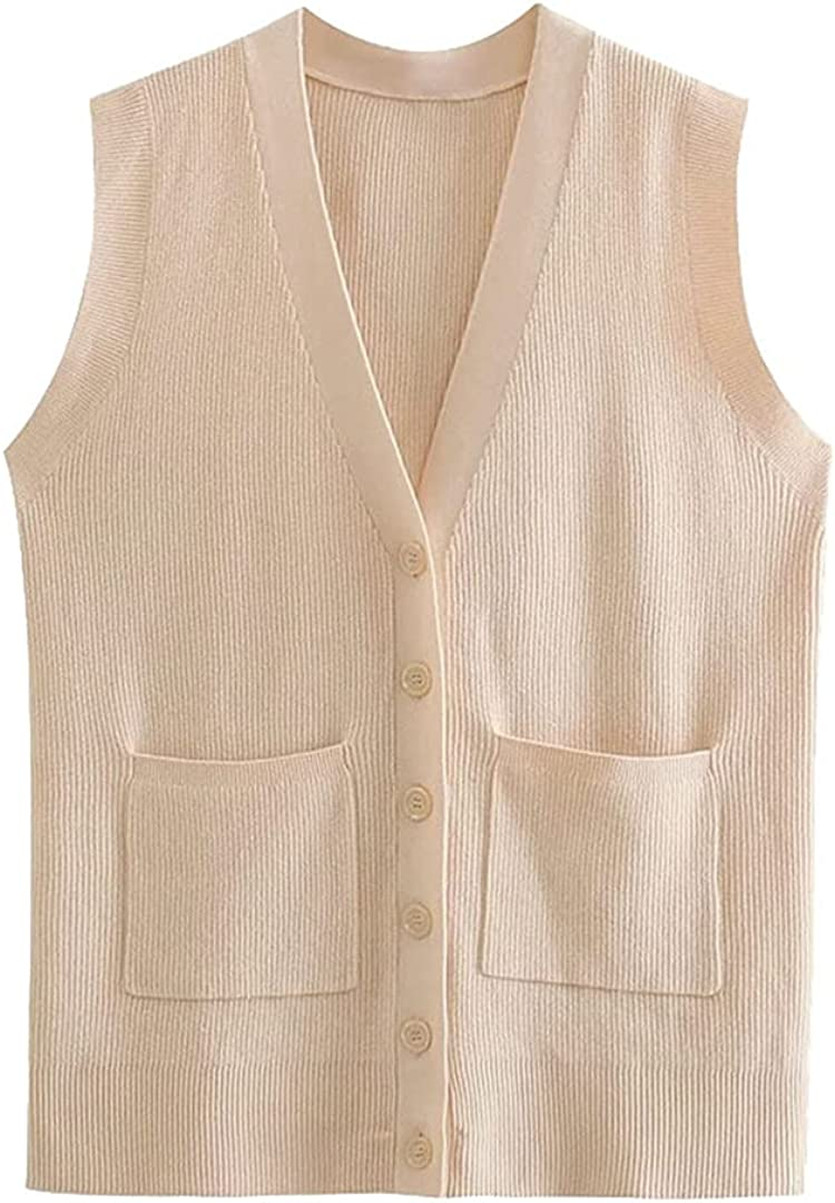 Women with Pockets Loose Ribbed Knitted Vest Sweater Vintage V Neck Button-Up Waistcoat Chic Tops