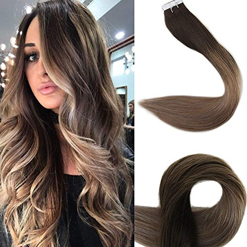 Full Shine Remy Tape In Hair Extensions Ombre Balayage Color 2 Fading To 6 And 18 Ash Blonde Tape Hair Extensions 16 Inch Good Quality Skin Weft Hair Extensions 50 Grams 20Pcs
