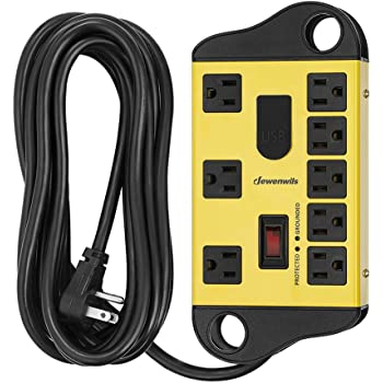 DEWENWILS 8-Outlet Metal Power Strip Surge Protector with 2 USB Ports,15 Ft Flat Plug Extension Cord, Heavy Duty Industrial Power Strip,15A Circuit Breaker, 1440Joules, Wall Mount, UL Listed