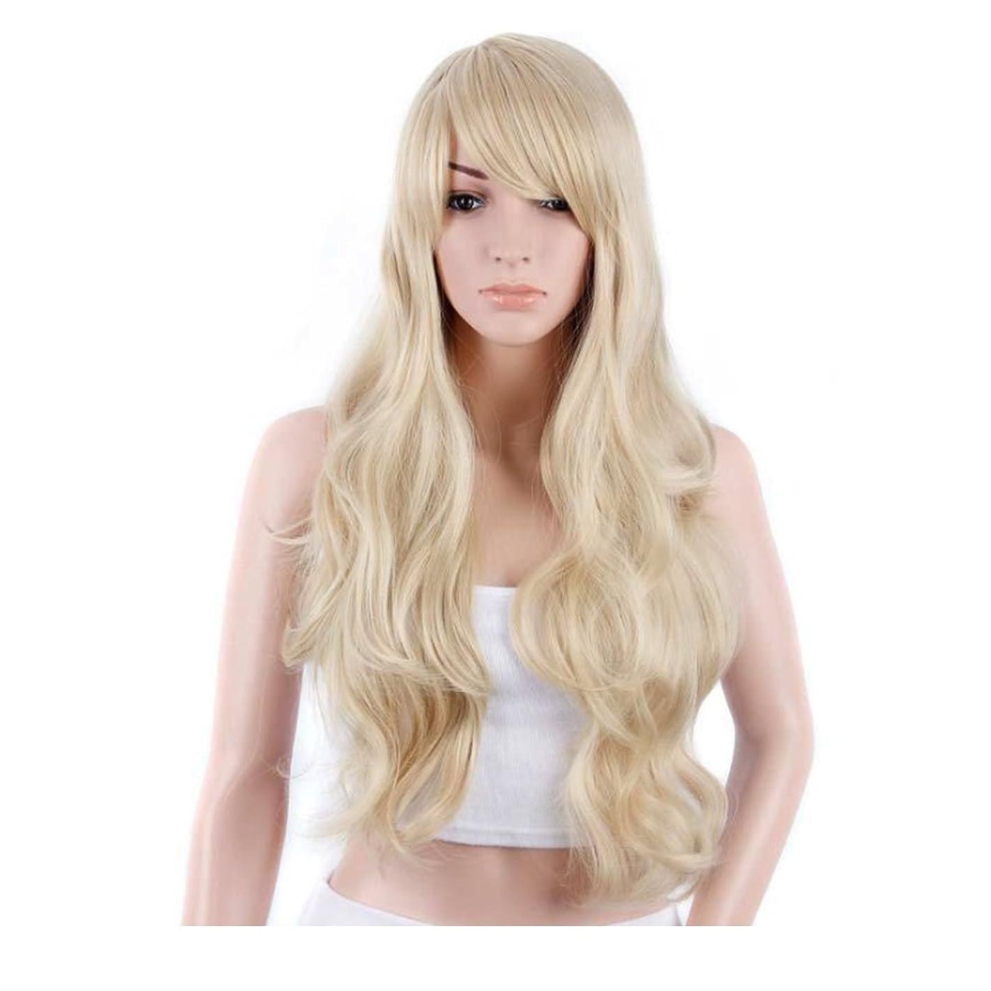 肘ドローマザーランドKoloeplf 女性のための新鮮で素敵な髪型ウィッグロングストレートヘアーパーソナリティオブリックバングウィッグパーソナリティヘアナチュラルカラー21inchの長さのためのふわふわかつら(黒、ベージュ) (Color : Beige)