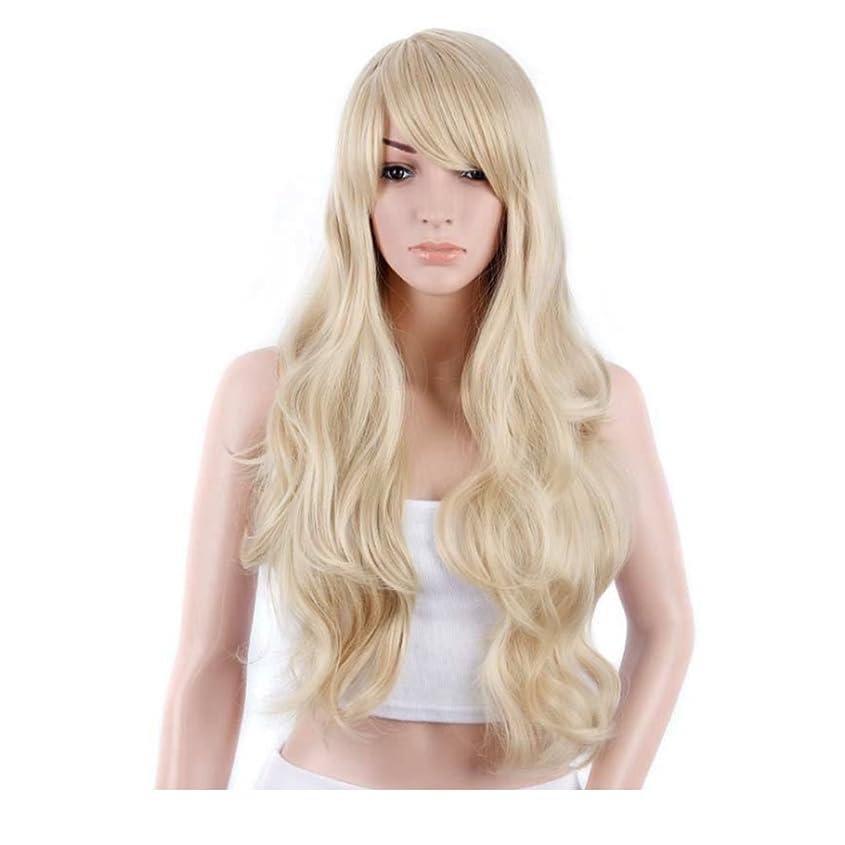 Koloeplf 女性のための新鮮で素敵な髪型ウィッグロングストレートヘアーパーソナリティオブリックバングウィッグパーソナリティヘアナチュラルカラー21inchの長さのためのふわふわかつら(黒、ベージュ) (Color : Beige)