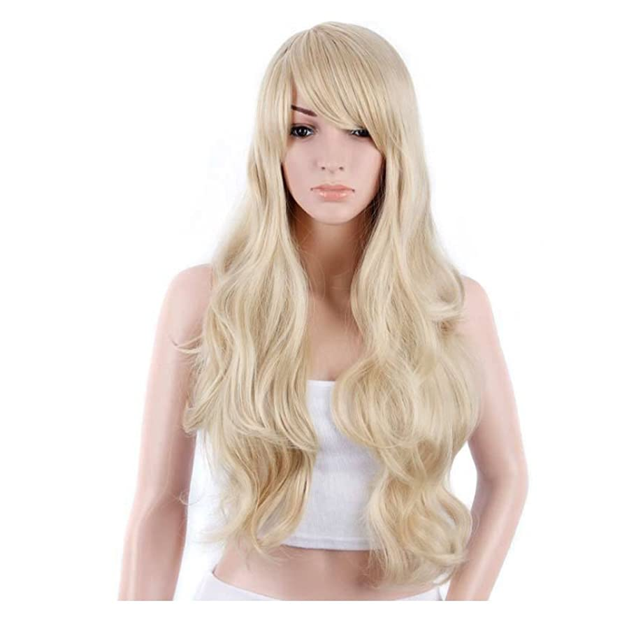 賞賛剪断ちなみにKoloeplf 女性のための新鮮で素敵な髪型ウィッグロングストレートヘアーパーソナリティオブリックバングウィッグパーソナリティヘアナチュラルカラー21inchの長さのためのふわふわかつら(黒、ベージュ) (Color : Beige)