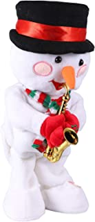 Toyvian Singing Dancing Snowman Christmas Rotating Snowman with Saxophone Xmas Electric Musical Dolls Electric Plush Toy O...