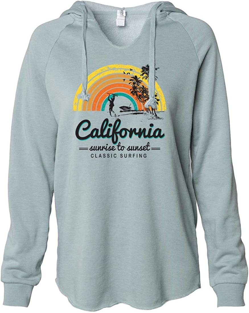 California Japan's largest assortment Classic Sunrise Surfing Bombing new work Hooded Soft Pullover Women's