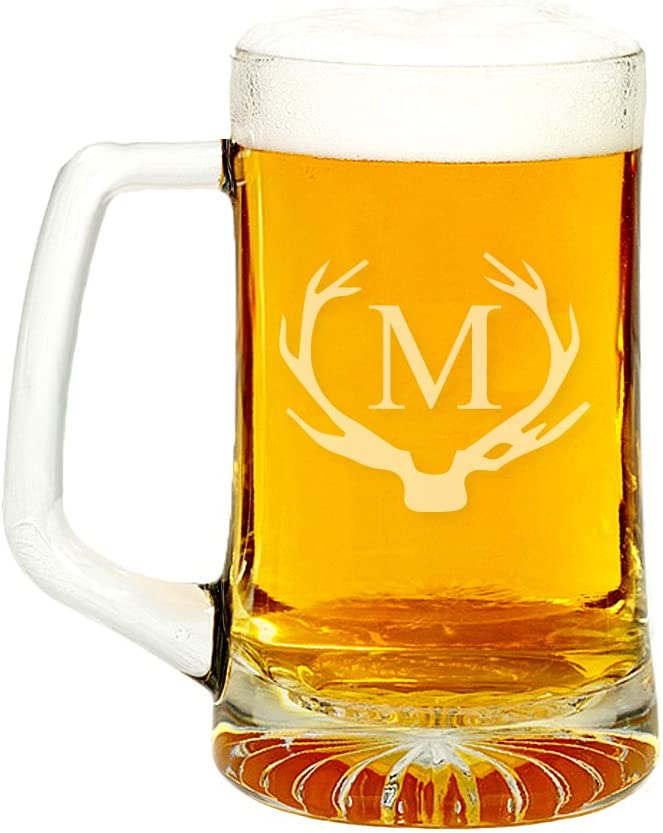 Antler Initial lowest price Glass Beer Mug 4pcs 15-ounce M In a popularity Letter -