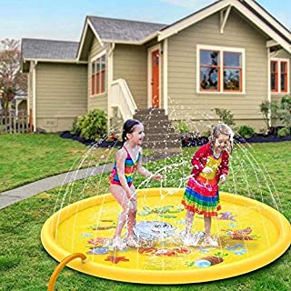 "67""Kids Sprinkler Pad Inflatable Outdoor Water Mat Toys Children's Sprinkler Pool Splash Pad for 1 2 3 4 5 Year Old Toddler Children Boys Girls Inflatable Shark Water Toys Fun for Outdoor"