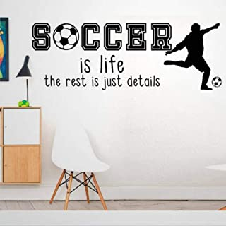 Best Soccer is Life The Rest is Just Details - Fun Hobby Game Football Player Sport Family Quote Love Wall Decals Removable Vinyl Decals Sticker DIY Art Wall Decor Mural Wall Art Home Decor Review