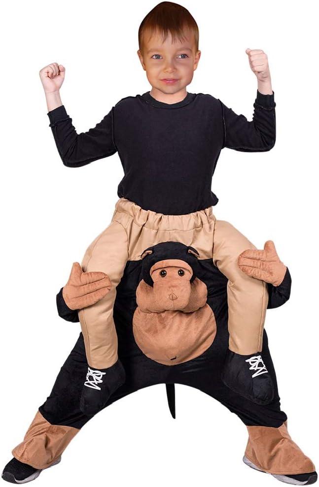 Seruna Carry-me Mono Disfraz-e F134 Tamaño 4-5 años (104 – 110 cm), Carry me Piggyback niños Trajes Chica y Jung-en Chimpancé-n Gorila Shrovetide-s Carnaval- Regalo de cumpleaños
