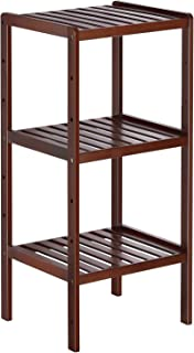 Bamboo Bathroom Shelf 3-Tier Small Utility Storage Shelf Rack, Adjustable Layer Plant Flower Display Stand Narrow Shelving Unit for Living Room, Kitchen, Balcony, Brown