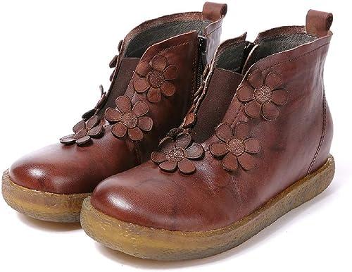 Gaslinyuan Bottes Marron en Cuir Faites à la Main de Chaussures de Fleur (Couleuré   Marron, Taille   EU 40)
