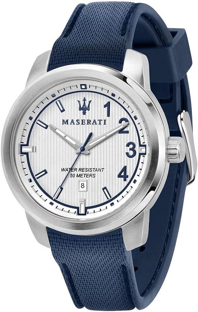 Maserati orologio da uomo, collezione royale in nylon e acciaio 8033288856351