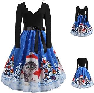 Lazzboy klänning dam långärmad djup v-hals avslappnad solid katt julhatt snötryck strappy rosett tunika smal kostym