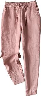 IXIMO Women's Tapered Pants 100% Linen Drawstring Back...