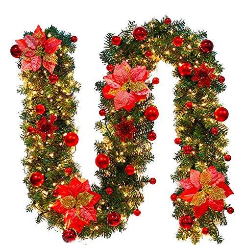 Ghirlanda Natalizia,Ghirlanda per Camino con Luci,Bella Decorazione Natalizia,Ornamento,Ghirlanda Abete per Gli Ambienti di Casa per Scale,Pareti,Porte,3 Colori,2.7M (Rosso)