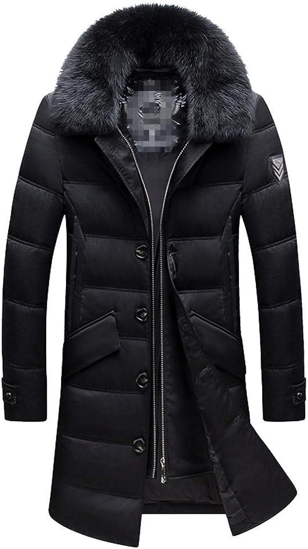 Men's Down Jacket Plush Collar Zipper Side Pocket Button Long Thicker Coats Keep Warm Parka Eu46Eu56