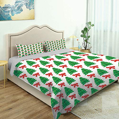 SUPNON 3 Piece Bedding Set 3D Printed Quilts Cover with 2 Pillow Cover, Green Xmas, Gamer Theme Trees and Pixel Art Queen/King Size Bedding Sets No32855 - King Size