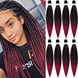 Ombre Pre-Stretched Braiding Hair Easy Braid for Box Braids Senegalese Twist Crochet Braids Straight Yaki Hair Styles 8 Bundles Professional Hot Water Setting Synthetic Colorful Hair Braids Not Itchy