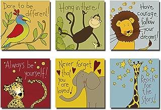 Hi-fun Cartoon Animals Nursery Wall Decor, 6 Pieces Elephant Lion Monkey Parrot Cheetah Giraffe Inspirational Quotes Wall Art Pictures for Kids Baby Boy & Girl Room (10x10inchx6pcs)