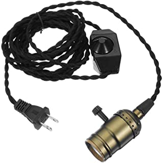 Single Vintage Bulb Cord Edison Socket lamp plug Pendant Light with Dimmer,ZHMA Industrial DIY Lamp Holder E26/27 Base,4.5M(14.8FT) Twisted Black Cloth Cord Hanging Light Fixture(with Swith and Plug)