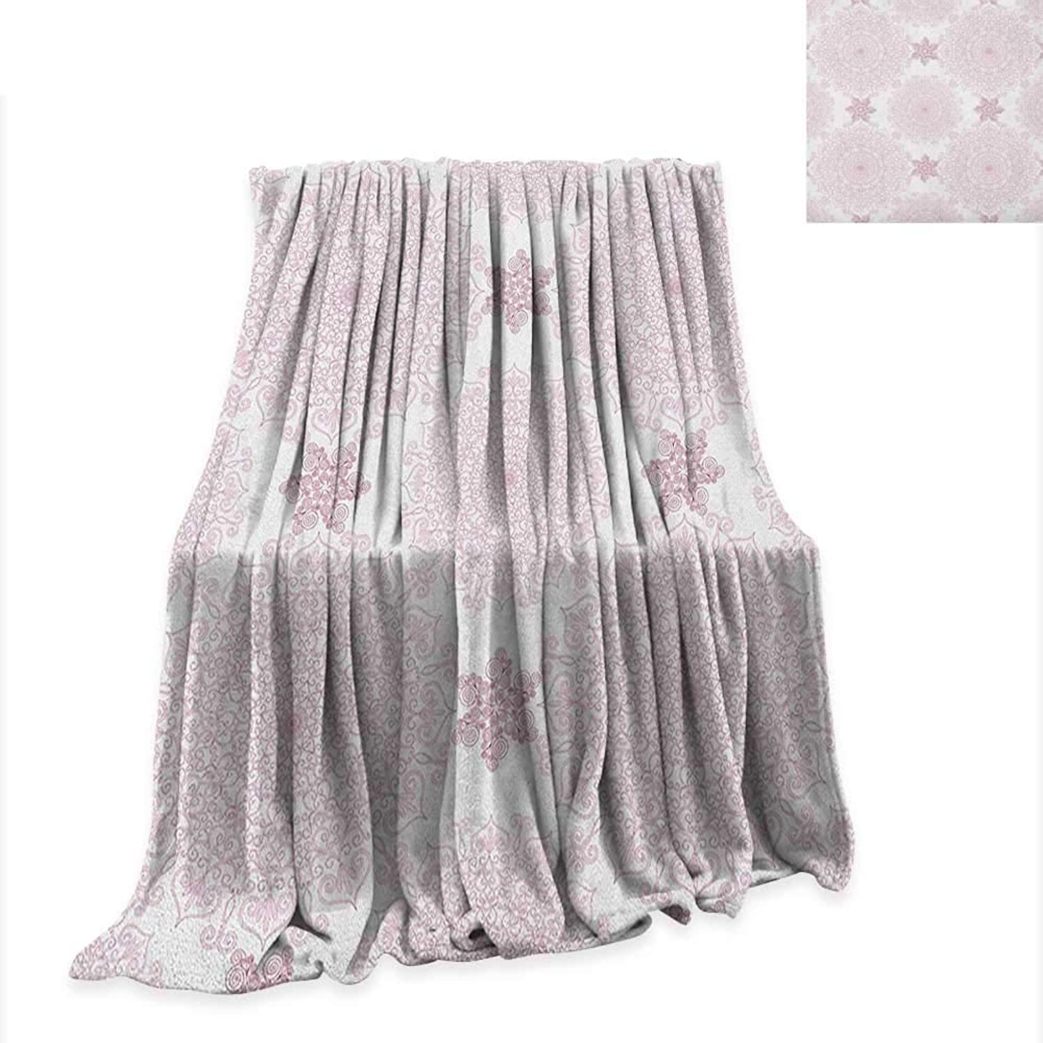 Anyangeight Purple Mandala Weave Pattern Extra Long Blanket Victorian Damask Style Vintage Ethnic Pattern with Rococo Effect Print 90 x70 ,Super Soft and Comfortable,Suitable for Sofas,Chairs,beds