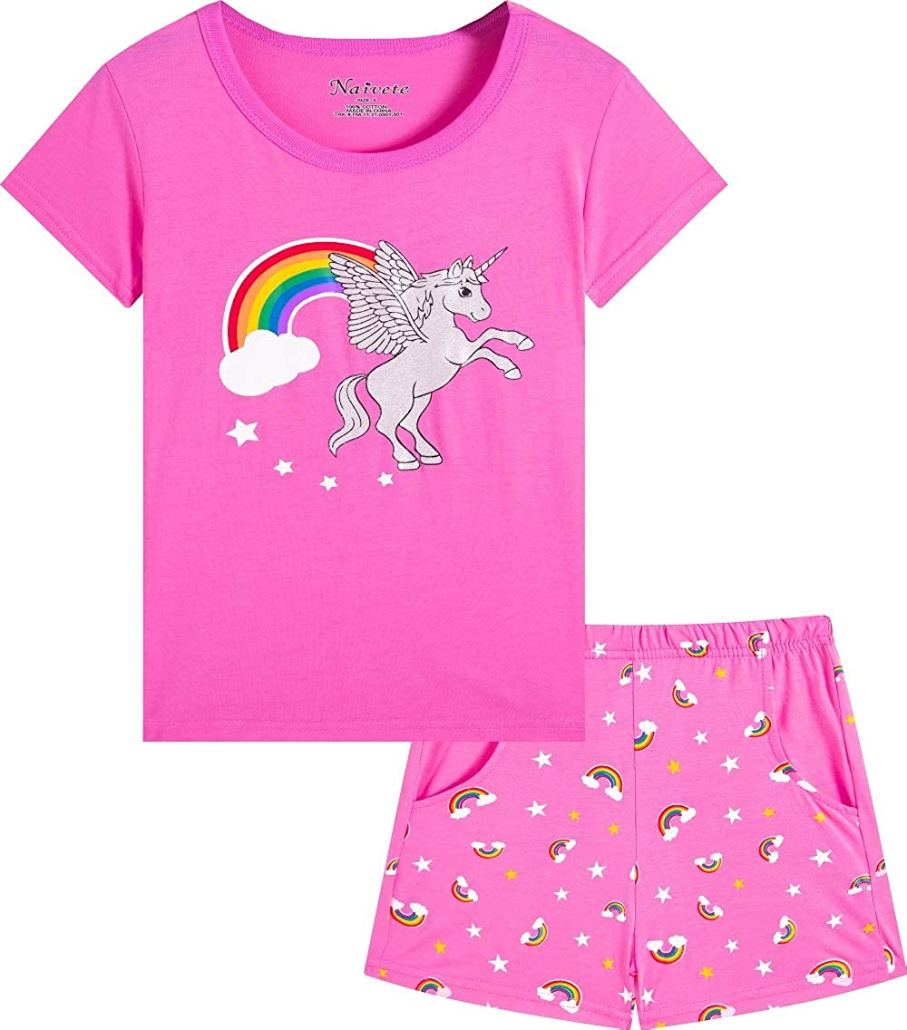 Naivete Girl Unicorn Clothing Pink Cotton Kids Max 64% OFF New sales Cu Summer Clothes