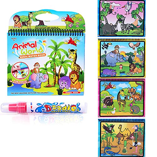 Fairydreamy Waterpainting Coloring Book Unisex Kids Magic Reusable Water Drawing Book with Water Pen Graffiti Painting for Toddlers (Animal World Series)