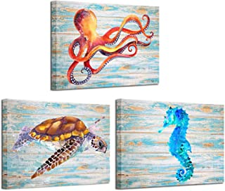 Kreative Arts 3 Pieces Canvas Prints Wall Art Octopus Turtle Blue Hippocampal Pictures on Vintage Wood Style Printed on Canvas Sea Animals Art Work for Living Room Kids Bathroom Walls 12x16inchx3pcs