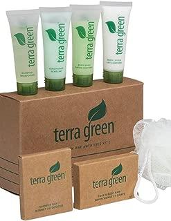 Registry Terra Green Amenity Kit Includes Travel Size Shampoo, Shower Cap