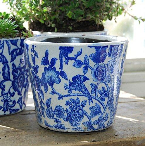 Bluebell Yard Macetero de planta con estampado de chinoiserie azul y blanco estilo holandés antiguo