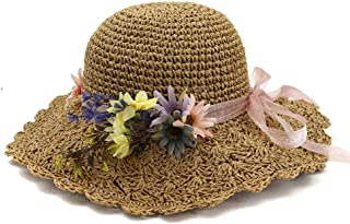 Summer hat Summer Women Husk Bucket Hat Lady Hademade Outside Flower Beach Sun Hat hat (Color : Coffee, Size : 56-58CM)