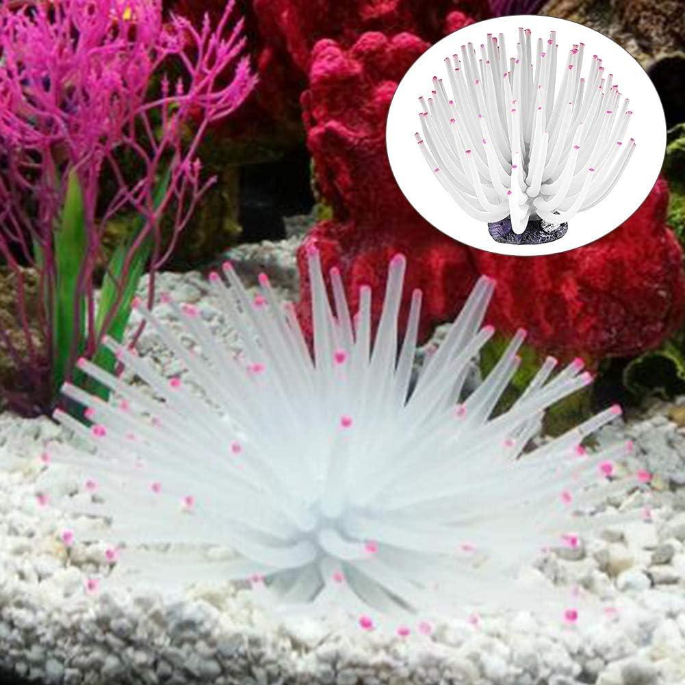 FOReverweihuajz Pet Products Soft Coral Artificial Sea Urchin Ball Anemone Ornament Aquarium Fish Tank Decor White L