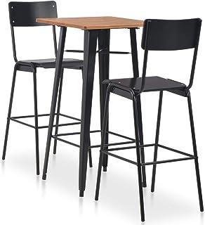 vidaXL Set Mesa Alta + 2 Taburetes Respaldo Cocina Bar Barra 3 Pzas Diseño Industrial Madera Patas Acero Conjunto Muebles Sillas Desayuno Negro Marrón