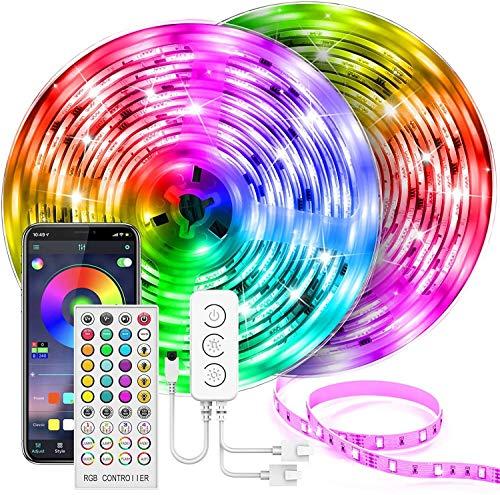 AMNVBD Tira de lámpara LED de, Kit de lámpara LED sincrónica de música con Control Remoto y Caja de Control, 5050 SMD 600 LED Colorido RGB Lámpara LED para Dormitorio, habitación, Cocina, Techo y TV