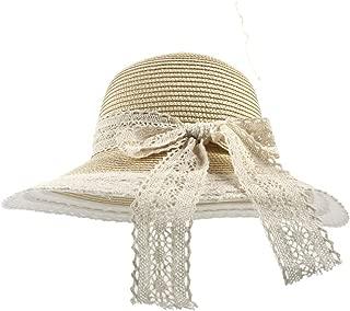 Women's Straw Hat Beach Sun Hat with Wide Brim Dome Bucket Sunbonnet (Color : Beige, Size : 56-58CM)
