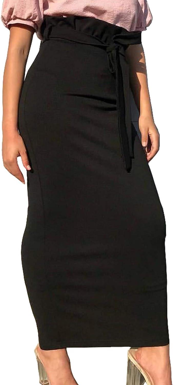Artfish Women's Bodycon Fitted Midi Length Skirts Paper-Bag Tie Waist