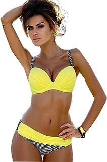 未来雑貨屋 レディース 三角ビキニ セパレート 水着 セクシー スイムウェア ビーチ水着 スチールサポート パッドなし 2点 セット 女性用 (XL)