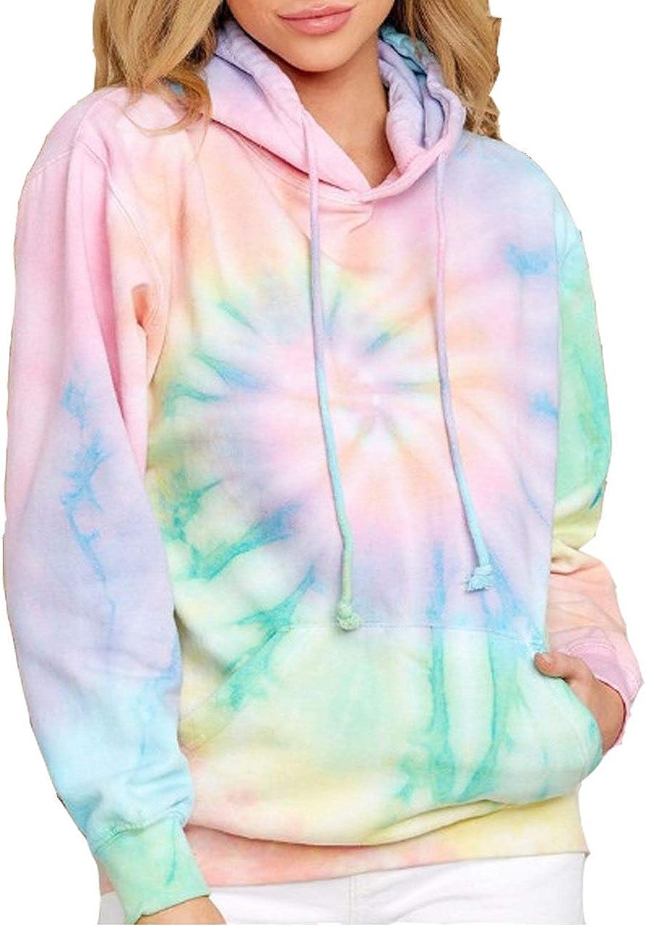 Women's Tie Dye Hoodie Long Sleeve Sweatshirt Fashion Drawstring Pullover Hooded Tops