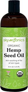 Organic Hemp Seed Oil by Sky Organics (16 oz) Cold-Pressed USDA Organic 100% Pure Moisturizing Hemp Oil Face Oil for All S...
