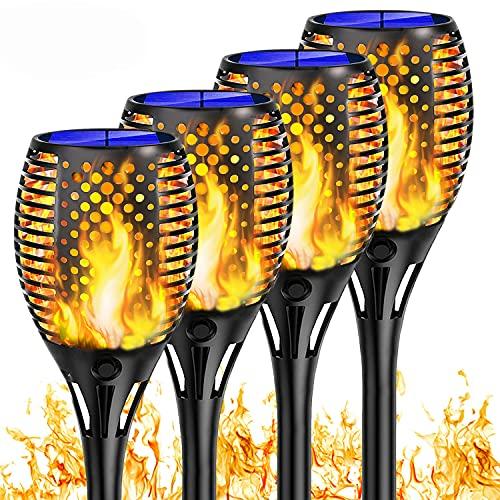 Shinmax Solarleuchte Solar Fackeln Solarlampen für Außen 33 LED Flamme Lampe IP65 Wasserdicht Solar Fackel Gartenlicht Solar Flammenlicht Auto EIN/Aus Deko für Garten Hof, Balkon, Korridor Weg