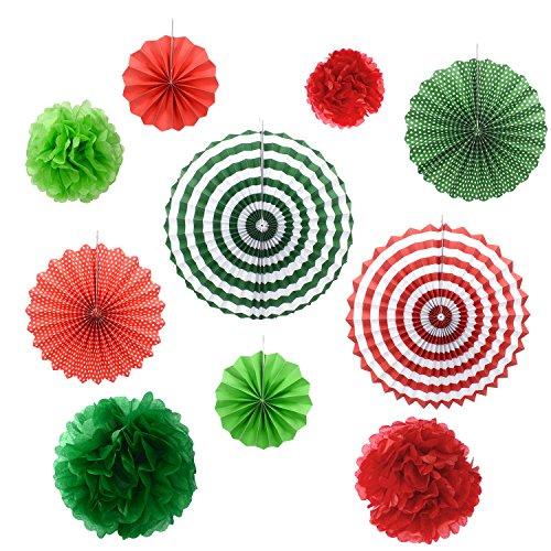 Gardeningwill Lot DE 10 Fans de Noël Vert Rouge Rosaces à Suspendre Ornement de Noël Fête d'anniversaire de Mariage Décoratifs