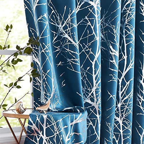 Baumblaue Verdunkelungsvorhänge Schlafzimmer Metallic Silber Zweig Fenster Gardinen 183 cm Länge Wohnzimmer Foliendruck Vorhang Paneele für Keller Wäsche Jungenzimmer 127 cm B 2 Stück Marineblau