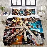 Funda nórdica, Música Guitarra eléctrica Colorida Azul Naranja Rojo Bajo Instrumento Musical, Juego de Cama Ultra cómodo y liviano Conjuntos de Microfibra de Lujo