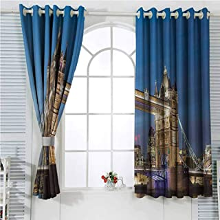 London Decor Collection Black out Curtains for Bedroom Scenery of Shining Landmark Tower Bridge at Twilight with Skyscrapers behind England Photography Home Decor Sliding Door Curtains W62 x L72 Inch