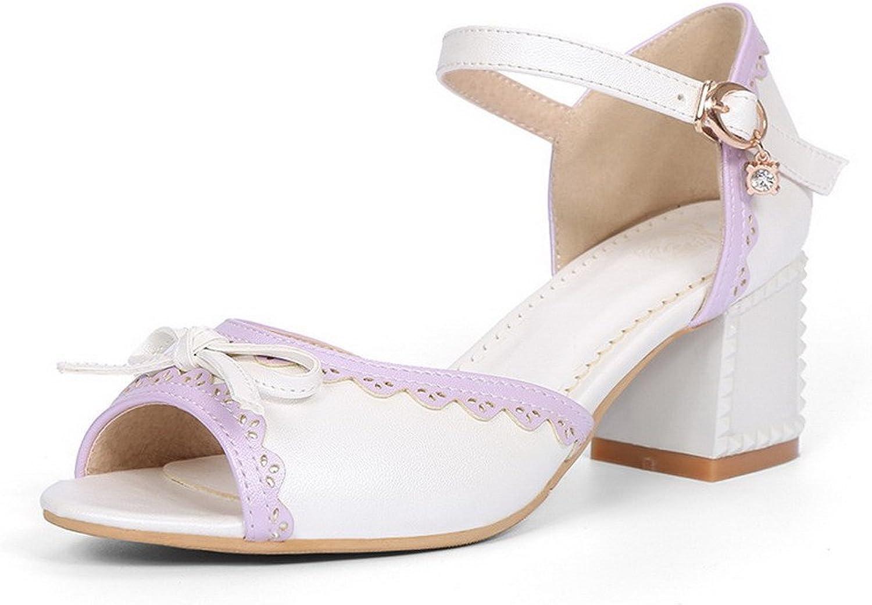 WeenFashion Women's Open Toe Kitten Heels Buckle Assorted color Sandals